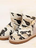 Girl's Boots Winter Comfort Leather Outdoor Flat Heel Buckle Blue Brown Gray Dark Green Beige Other