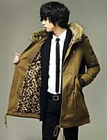Пальто Простое Длинная На подкладке Мужчины,Однотонный На каждый день Полиэстер Полиэстер,Длинный рукав Капюшон Синий