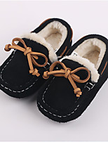 Boy's Flats Winter Moccasin Cowhide Outdoor / Casual Flat Heel Bowknot Black / Blue / Camel Others