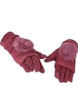 (note - rouge violet foncé) ms cheveux tricotés gants de lapin chaud