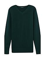 Мужчины На каждый день Уличный стиль Обычный Пуловер Однотонный,Зеленый V-образный вырез Длинный рукав Полиэстер Зима Толстая