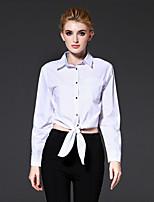 Chemise Femme,Couleur Pleine Décontracté / Quotidien / Travail simple Automne / Hiver Manches Longues Col de Chemise Blanc Coton Moyen