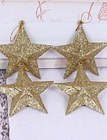 Weihnachtsschmuck Gold fünf - zackigen Stern Weihnachtsbaum Wreathdekoration 10cm