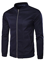 Men's Plus Size / Casual/Daily Solid Stand Long Sleeve All Seasons Black Cotton Medium Jackets.