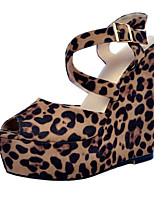 Women's Sandals Summer Platform Leatherette Party & Evening / Dress / Casual Wedge Heel Buckle Leopard