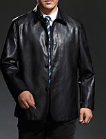 Men's Plus Size / Casual/Daily Simple Jackets,Solid Long Sleeve Black / Brown Lambskin