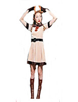 Cosplay Costumes Santa Suits Movie Cosplay Beige Solid Dress / Headwear Christmas Female Polyester