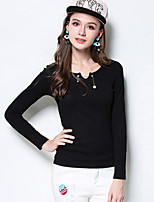 Women's Casual/Daily Simple Regular Pullover,Solid Black Yellow V Neck Long Sleeve Rayon Polyester Fall Medium Micro-elastic