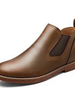 Men's Boots Comfort Spring Fall Cowhide Casual Office & Career Gore Flat Heel Blue Brown Black Flat