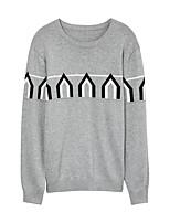 Herren Standard Pullover-Lässig/Alltäglich Street Schick Druck Blau / Rot / Grau Rundhalsausschnitt Langarm Baumwolle Winter Dick