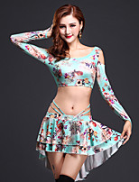 Belly Dance Outfits Women's Training Spandex Milk Fiber Flower(s) 2 Pieces Sleeveless Natural Skirt Top 31