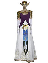Inspired by The Legend of Zelda Alice Anime Cosplay Costumes Cosplay Suits Print / Patchwork White / Purple SleevelessDress / Gloves /