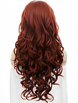 IMSTYLE 26''High Quality Beautiful Popular Auburn Long Wave Synthetic Lace Front Wigs For Party