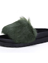 Women's Sandals Fall Winter Comfort Fur PU Casual Flat Heel Black Green Red Gray Other