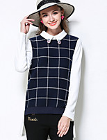 MEIDONGTAI Women's Plus Size / Casual/Daily Simple Fall T-shirtPlaid Shirt Collar Long Sleeve Blue Cotton / Polyester / Spandex Medium