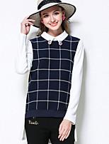 Damen Verziert Einfach Übergröße / Lässig/Alltäglich T-shirt,Hemdkragen Herbst Langarm Blau Baumwolle / Polyester / Elasthan Mittel