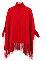 Women's Casual/Daily Simple Regular Cloak / Capes,Solid Red Black Gray Round Neck Cotton Winter Medium Micro-elastic
