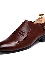Черный Коричневый-Мужской-Повседневный-Полиуретан-На плоской подошве-Удобная обувь-Туфли на шнуровке