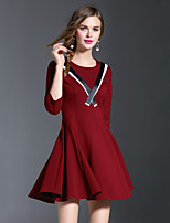 EWUS/Women's Going out / Casual/Daily Simple / Boho Sheath DressColor Block Round Neck Above Knee 3/4 Length Sleeve Red / Black PolyesterFall