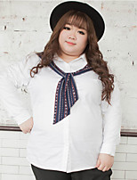 KELIXUAN  Women's Plus Size / Casual/Daily Simple Fall ShirtSolid Shirt Collar Long Sleeve White Polyester