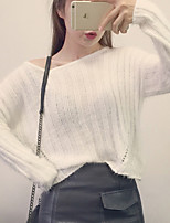 Women's Going out Casual/Daily Cute Short Pullover,Solid Pink Round Neck Long Sleeve Polyester All Seasons Medium Micro-elastic