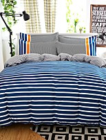 Mingjie Wonderful Blue Sripes Bedding Sets 4PCS for Twin Full Queen King Size from China Contian 1 Duvet Cover 1 Flatsheet 2 Pillowcases