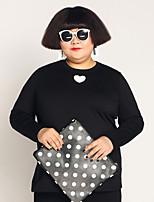 Tee-shirt Femme,Imprimé Décontracté / Quotidien / Grandes Tailles simple Automne / Hiver Manches Longues Col Arrondi Noir Coton / Spandex