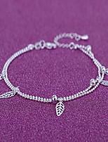 Femme Bracelet de cheville/Bracelet Plaqué argent Mode Forme de Feuille Argent Aux femmes Bijoux Quotidien Décontracté