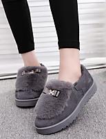 נשים-נעליים ללא שרוכים-פרווה-מוקסין-שחור / אפור-קז'ואל
