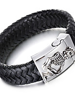 Kalen Men's Woven Leather Bracelet Punk 316 Stainless Steel Skull Charm Bracelet Bangle Rock Jewelry Male Accessory