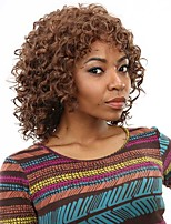 Short Afro Curly Wave Hair Brown and Auburn Color Synthetic Wigs for Women