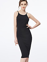 NAKED ZEBRA  Women's Casual Street chic Bodycon DressSolid Strap Knee-length Sleeveless Pink / Black Spandex Spring Mid Rise Micro-elastic Medium