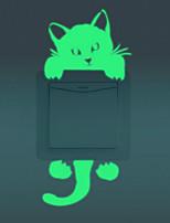 Animaux Bande dessinée Mode Stickers muraux Stickers muraux lumineux Stickers d'interrupteurs Matériel Amovible Décoration d'intérieur