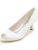 Mujer Zapatos de boda Pump Básico Primavera Verano Satén Boda Fiesta y Noche Tacón Stiletto Morado Rojo Azul Champaña Marfil 5 - 7 cms