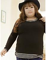 Tee-shirt Femme,Rayé Décontracté / Quotidien / Grandes Tailles simple Automne Manches Longues Col Arrondi Blanc / NoirCoton / Polyester /