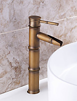 Bathroom Sink Faucet with Antique Brass Finish-Bamboo Shape Design