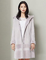 Xuebao Women's Casual/Daily Simple Fur CoatSolid Hooded Long Sleeve Fall / Winter Pink Wool Thick