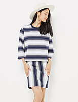 Metersbonwe Women's Casual/Daily Street chic Short PulloverStriped Blue / White Round Neck Long Sleeve Rayon Fall Medium Inelastic