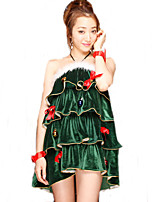 Santa Suits Movie Cosplay Green Solid Dress Christmas Female Polyester
