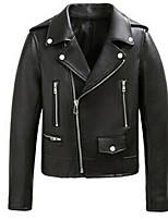 Женский На выход / На каждый день / Офис Однотонный Кожаные куртки Лацкан с тупым углом,Простое / Панк & Готика Зима Черный Длинный рукав,