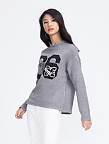 Metersbonwe Women's Casual/Daily Street chic Regular PulloverLetter Gray Round Neck Long Sleeve Polyester Winter Medium Inelastic