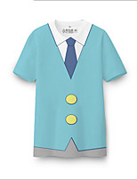 Inspirado por Fantasias Fantasias Anime Fantasias de Cosplay Cosplay T-shirt Estampado Azul Sem Mangas Japonesa/Curta
