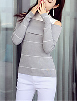 Women's Casual/Daily Simple Regular Pullover,Solid Striped Black Gray Boat Neck Long Sleeve Polyester Fall Winter Medium Micro-elastic