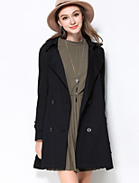 MEIDONGTAI Women's Plus Size / Casual/Daily Simple Trench CoatSolid Notch Lapel Long Sleeve Fall / Winter Black Cotton / Spandex Thick