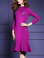 Women's Casual/Daily Simple Sheath Dress,Print Round Neck Maxi Long Sleeve Black Polyester All Seasons Mid Rise Micro-elastic Medium