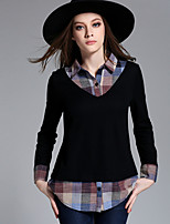 Women's Casual/Daily Plus Size Simple Regular Pullover,Patchwork Red Black Shirt Collar Long Sleeve Rayon Polyester Fall Winter Medium