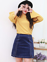 Nininiu Women's A Line Solid SkirtsCasual/Daily Simple Mid Rise Above Knee Elasticity Others Inelastic Summer
