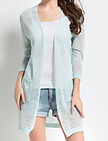 Women's Casual/Daily Simple Regular Cardigan,Solid Blue Halter ¾ Sleeve Linen Fall Medium Micro-elastic