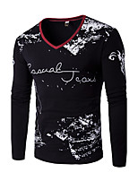 Men's Casual/Daily Simple All Seasons T-shirtLetter V Neck Long Sleeve Blue / Red / White / Black Cotton Medium
