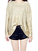 Women's Casual/Daily Simple / Street chic Regular Gilding Pullover Split  Loose Color Block Round Neck Long Batwing Sleeve